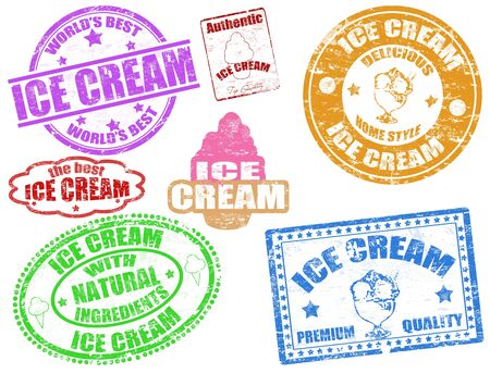 ice cream: Set of grunge rubber stamps with the text ice cream written inside, vector illustration