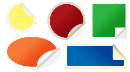 pealing: Set of colored pealing paper isolated on white, vector illustration Illustration