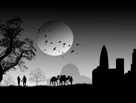 Silhouette of enamoured couple on arabian night and mosque, vector illustration Vector