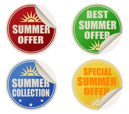Stickers set with text best summer offers, vector illustration