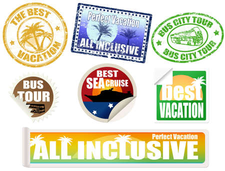 tour bus: Set of vacation labels and stamps, on white background, vector illustration