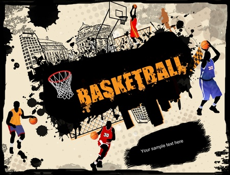urban scene: Urban grunge basketball background, vector illustration