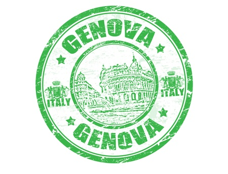 Grunge rubber stamp with the word Genova inside, vector illustration Vector