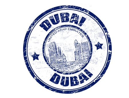 Grunge sello de goma con la palabra de Dubai en el interior, ilustración vectorial