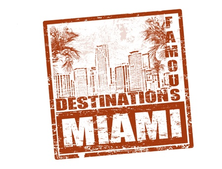 florida: Grunge rubber stamp with the text famous destinations Miami inside, vector illustration