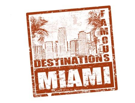 timbre voyage: Tampon en caoutchouc grunge avec le fameux texte à l'intérieur de destinations Miami, illustration vectorielle Illustration