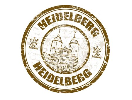 Grunge rubber stamp with town gate of Heidelberg shape and the word Heidelberg written inside Vector
