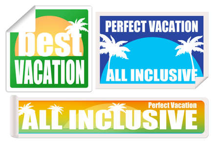 Set of vacation labels and stamps on white background, vector illustration Vector