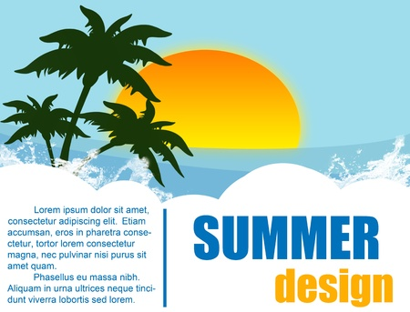 Summer holiday background design - tropical island- vector illustration Stock Vector - 12798862