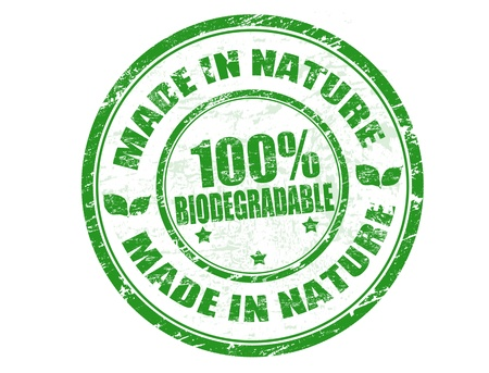 watermark: Green grunge rubber stamp with the text Made in Nature - 100% Biodegradable written inside, vector illustration Illustration