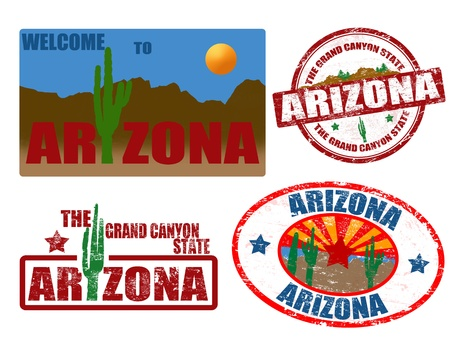 state of arizona: Set of grunge stamps with word Arizona written inside, vector illustration