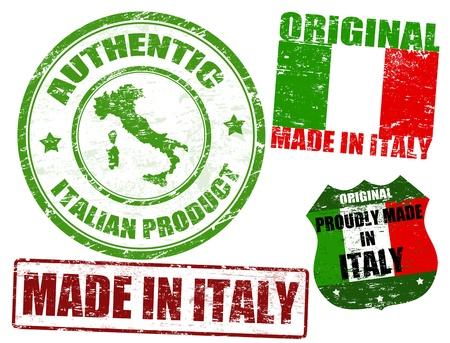 gemaakt: Set van grunge rubberen stempel met de tekst made in Italy binnenin geschreven, vector illustratie