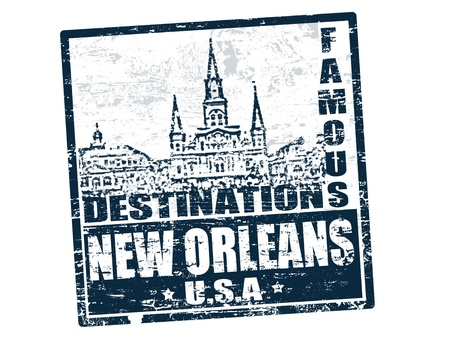 new orleans: Grunge rubber stamp with the text famous destinations New Orleans inside, vector illustration