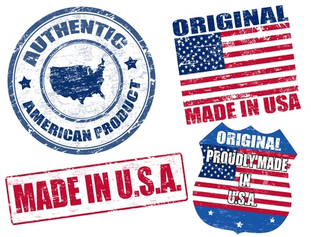 proudly: Set of grunge rubber stamp with the text made in USA written inside, vector illustration