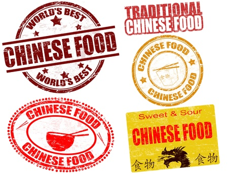 chinese food: Set of grunge rubber stamps  with  the text chinese food written inside, vector illustration Illustration