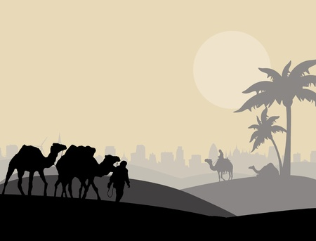 cairo: Camels and bedouin in arabic landscape, vector illustration Illustration