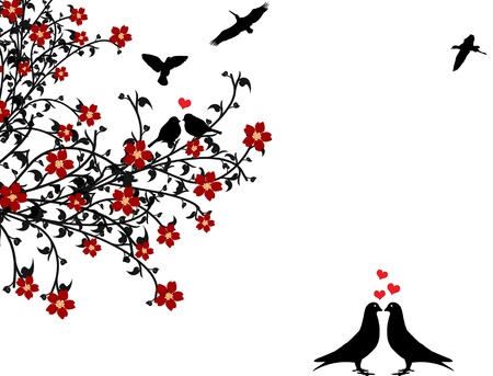 Birds in love sitting on a flowering tree on  white background, vector illustration