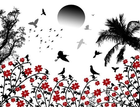 birds in flight: Birds flying on white background with red flowers, vector illustration Illustration