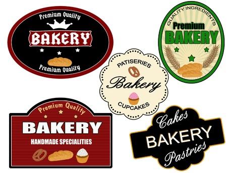 bakery sign: Conjunto de etiquetas de panader�a de �poca sobre fondo blanco, ilustraci�n vectorial