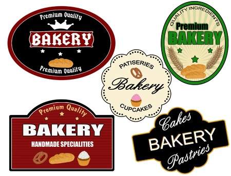 Set of vintage bakery labels on white background, vector illustration Stock Vector - 13246580