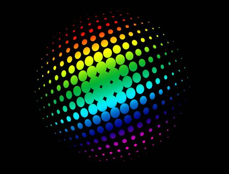 rainbow sphere: Halftone circle with rainbow colors