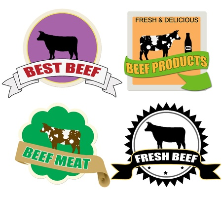 Stickers set with beef meat on white background Stock Vector - 13264090