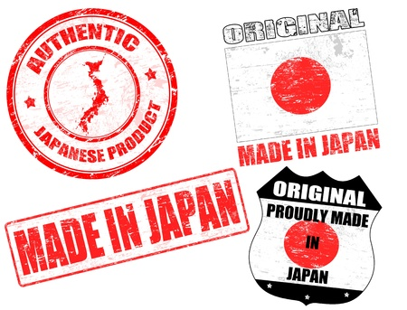 Set of grunge rubber stamp with the text made in Japan written inside, vector illustration Stock Vector - 13338749