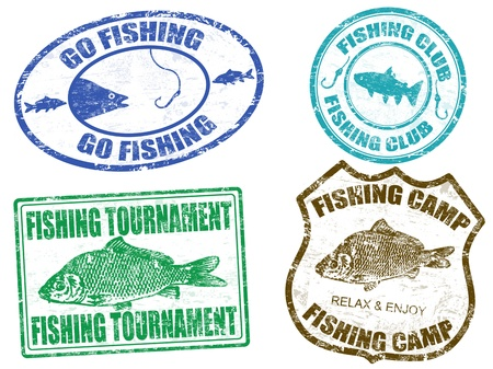 sports fishing: Set of fishing stamps on white background