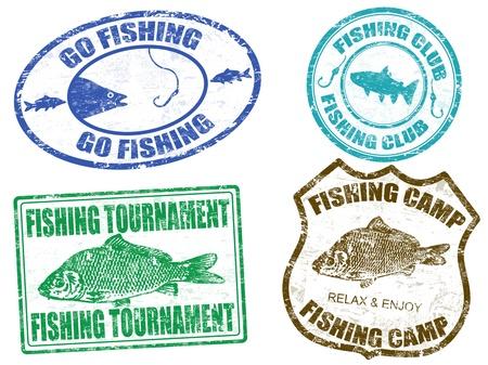 hengelsport: Set van vissen stempels op witte achtergrond