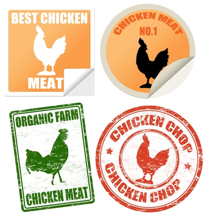 cooked meat: Set of chicken meat labels and stamps on white, vector illustration