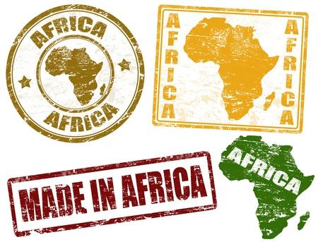 mapa de africa: Juego de sellos de goma del grunge con la palabra escrita en el interior de África
