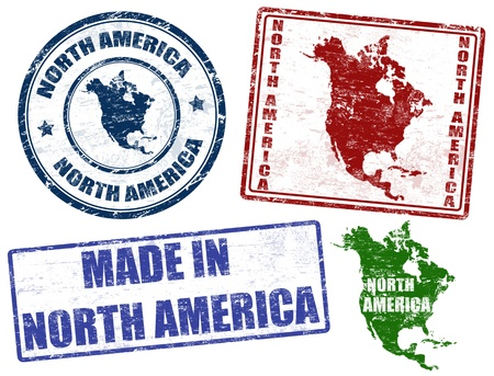 Set of grunge rubber stamps with the text North America written inside Vector