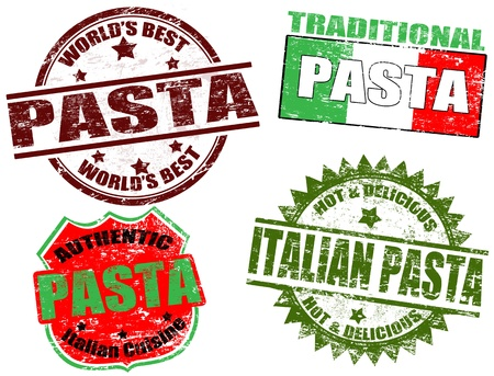 italian pasta: Juego de sellos de goma del grunge con la pasta palabra escrita en el interior