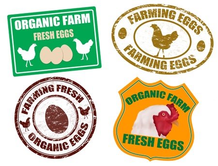 scrambled: Set of farming eggs labels and grunge rubber stamps