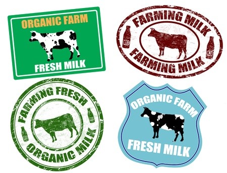 Set of farming milk labels and grunge rubber stamps Vector