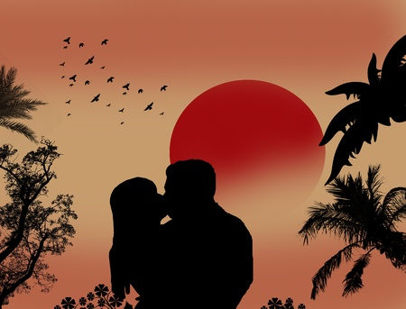 Couple kissing at tropical sunset background Vector