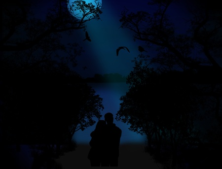 embraced: Lovers on blue sunset in beautiful landscape at night Illustration