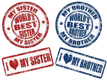 brother and sister: Set of grunge rubber stamps with text worlds best sister and brother inside,vector illustration