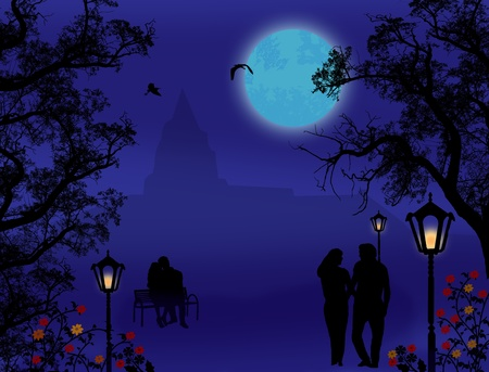Silhouettes of man and woman, walking on city park and sitting on a bench at night time, vector illustration Vector
