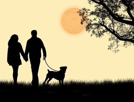 femme et chien: Silhouette d'un couple marchant son chien au coucher du soleil, illustration vectorielle