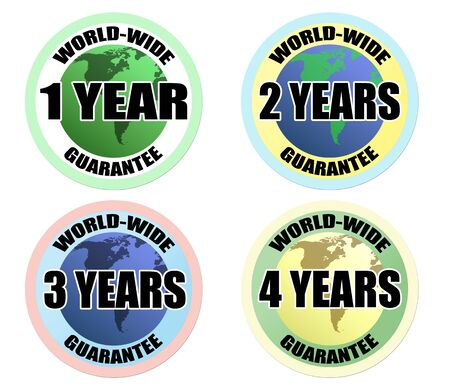 Set of world-wide guarantee labels on white background Stock Vector - 13583528