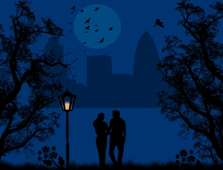 Couple in a city park on beautiful blue night, vector illustration Vector