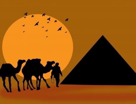 Symbol Egypt s - pyramid, camel and sunset