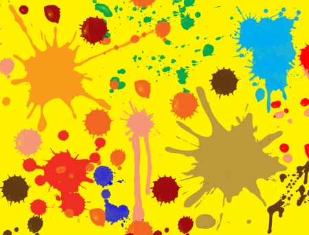 splatter paint, brush abstract seamless background.Fluid ink wallpaper on yellow. Vector