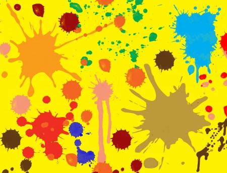 splodge: splatter paint, brush abstract seamless background.Fluid ink wallpaper on yellow.