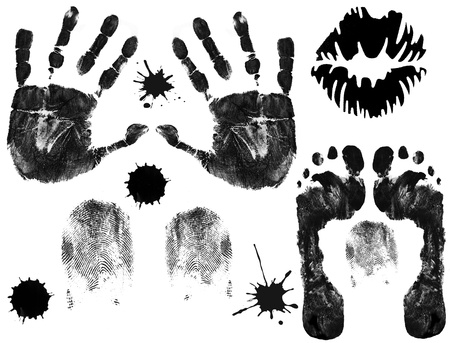 finger to lips: Foot, finger, lips and hand prints on white background
