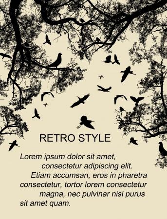 pajaros volando: Las aves en el �rbol y volando en el fondo estilo retro Vectores