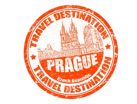 Grunge rubber stamp with the text travel destination Prague inside, vector illustration