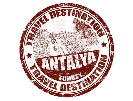 Grunge rubber stamp with the text travel destinations Antalya inside, vector illustration Stock Vector - 13828751