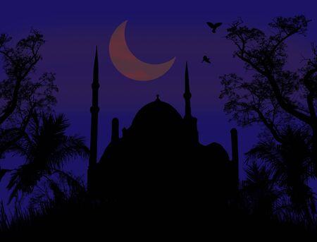 Mosque and Ramadan Moon on blue night Vector
